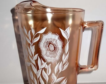 Peach Opal Carnival Glass Water Pitcher/Ewer Etched with Flower Motif Home and Garden Kitchen and Dining Serveware Tableware Water Pitchers