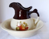 McCoy Pottery Ewer Water Pitcher Wash Basin Home and Garden Kitchen and Dining Tableware Serveware Serving Pitchers and Carafes