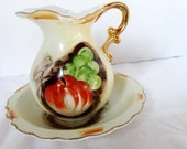 Hand Painted Pottery Ewer Water Pitcher with Basin Home and Garden Kitchen and Dining Tableware Serveware Serving Pitchers and Carafes