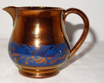 Copper Luster Creamer Banded with Flower Motif Home and Garden Kitchen and Dining Serve Ware Tableware