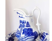 Peng Cheng Ceramics Ewer Water Pitcher with Wash Basin Home and Garden Kitchen and Dining Tableware Serveware Serving Pitchers and Carafes