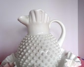 Hobnail White Milk Glass Ewer Water Pitcher Wash Basin Home and Garden Kitchen and Dining Tableware Serveware Serving Pitchers and Carafes