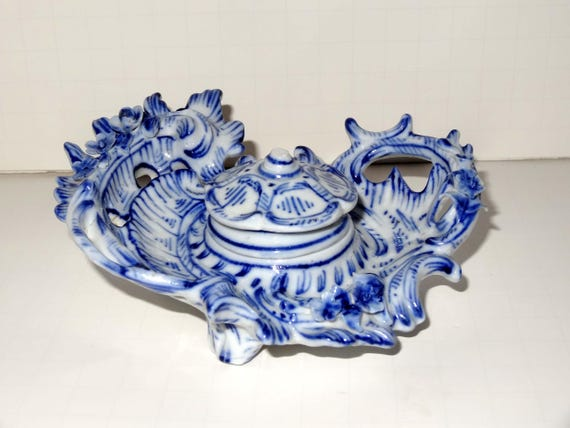 Blue Vintage Porcelain Inkwell Porcelain Handmade Ink Well in Nice Pattern Writing or Caligraphy Accessories