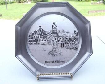 "German Bergisch Cladbach Signed ""Gesgesch"" German Town Etched Pewter Octogon and Garden Kitchen and Dining Serveware Tableware Plates"