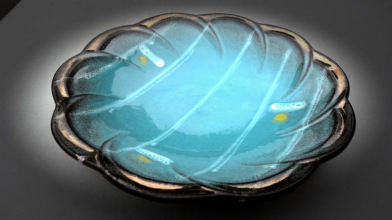 Made in West Germany Serving Bowl Pottery Sky Blue Yellow Dots Iridescent Rim Home and Garden Kitchen and Dining Serve Ware Tableware Bowls