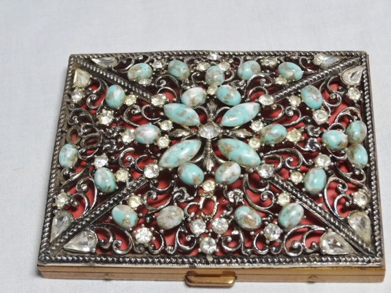 Compact or Cigarette Case Faux Turquoise and Rhine