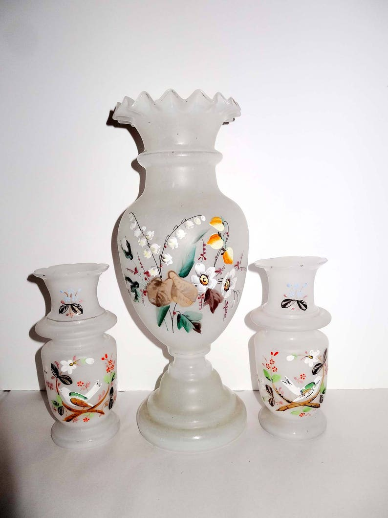Etsy & Set of 3 Hand Blown and Hand Painted Frosted Glass Flower Vases Lily of the Valley \u0026 Dogwood Home and Garden Decor Vases Flower Vases