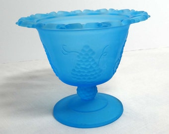 Frosted Aqua Glass Candy Dish Grape Motif Home and Garden Kitchen and Dining Serveware Tableware Bowls