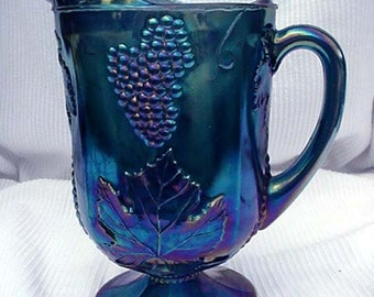 Blue Carnival Glass Water Pitcher Indiana Glass Home and Garden Kitchen and Dining Serveware Tableware Drink and Bareware Water Pitchers