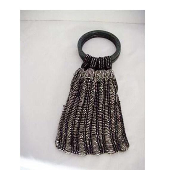 1920s Black Silver Beaded Handbag Apparel and Acce