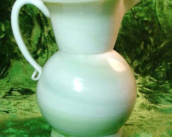 Fenton Satin Glass Lime Sherbet Small Ewer or Creamer Home & Garden Serveware Tableware Creamer