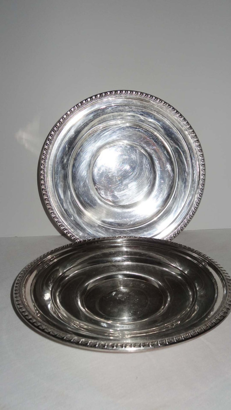 LBS Co Superfine EPC Pair of Round Silver Plated Serving Bowls Home and Garden Kitchen and Dining Serveware Tableware Bowls