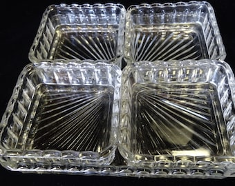 Clear Pressed Glass Square Relish Dish or Tray 4 Removable Sections Home and Garden Kitchen and Dining Serveware Tableware Trays