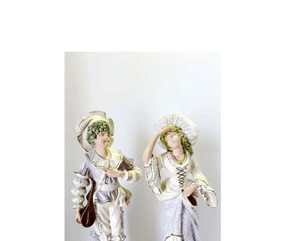 Victorian Tall Statues Man and Woman Set of Two Hand Painted Pastels Gold Leaf Made of Plaster Home and Garden Collectibles Figurines