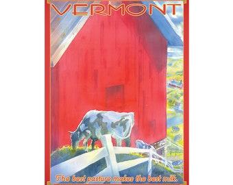 Dairy Vermont Travel Poster