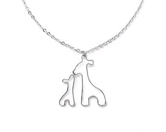 New Mom Necklace, Giraffe Necklace, Giraffe Mom and Baby Necklace, Giraffe Baby Shower New Mom Gift, Push Present Jewelry Push Gift for Wife