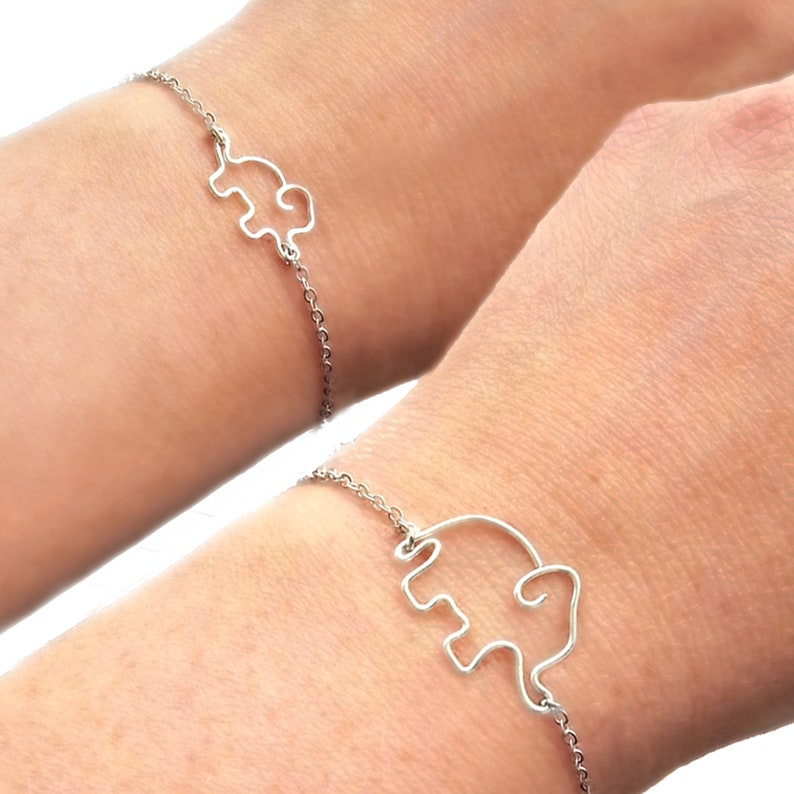 Mother and daughter elephant bracelet set personalized mother gift mommy and me matching bracelets mom and daughter elephant jewelry set