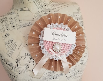 Personalised Bride to Be Jewel Hen Party Rosette