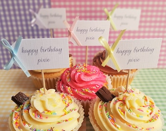 Set Of 10 Personalised Birthday Rainbow Cupcake Toppers