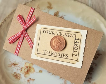 Festive Ticket to Riches Lottery Scratch Card Holders - set of 5