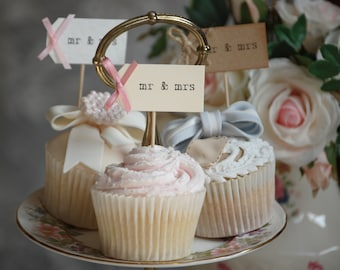 mr & mrs Wedding Cupcake Toppers - ivory with dusky pink bows - set of 10