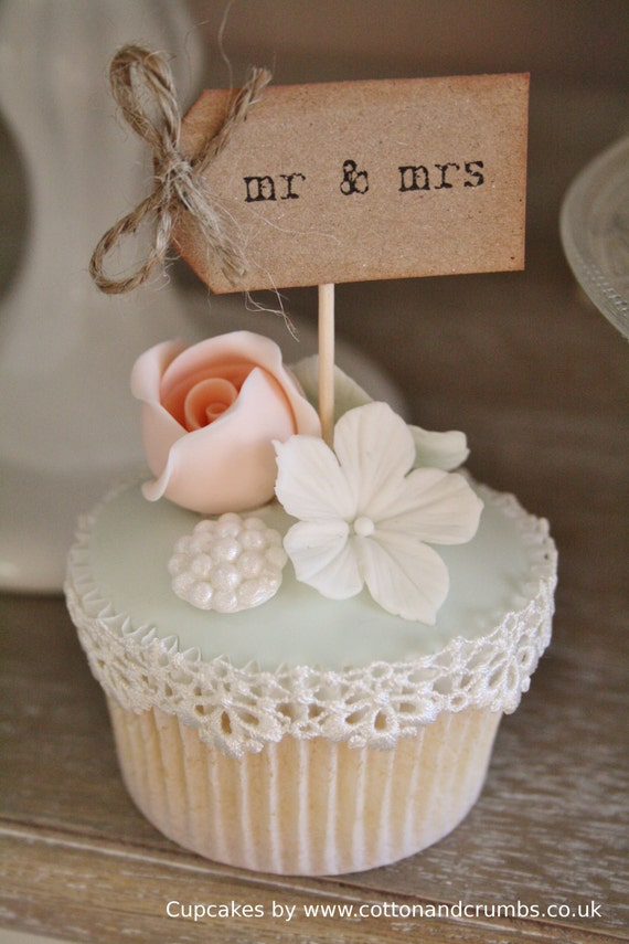 Wedding Cupcake Toppers Mrs and Mrs Cupcake Topper 12 Rustic Wedding