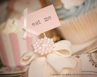 eat me Cupcake Toppers - blush pink with ivory bows -  set of 10