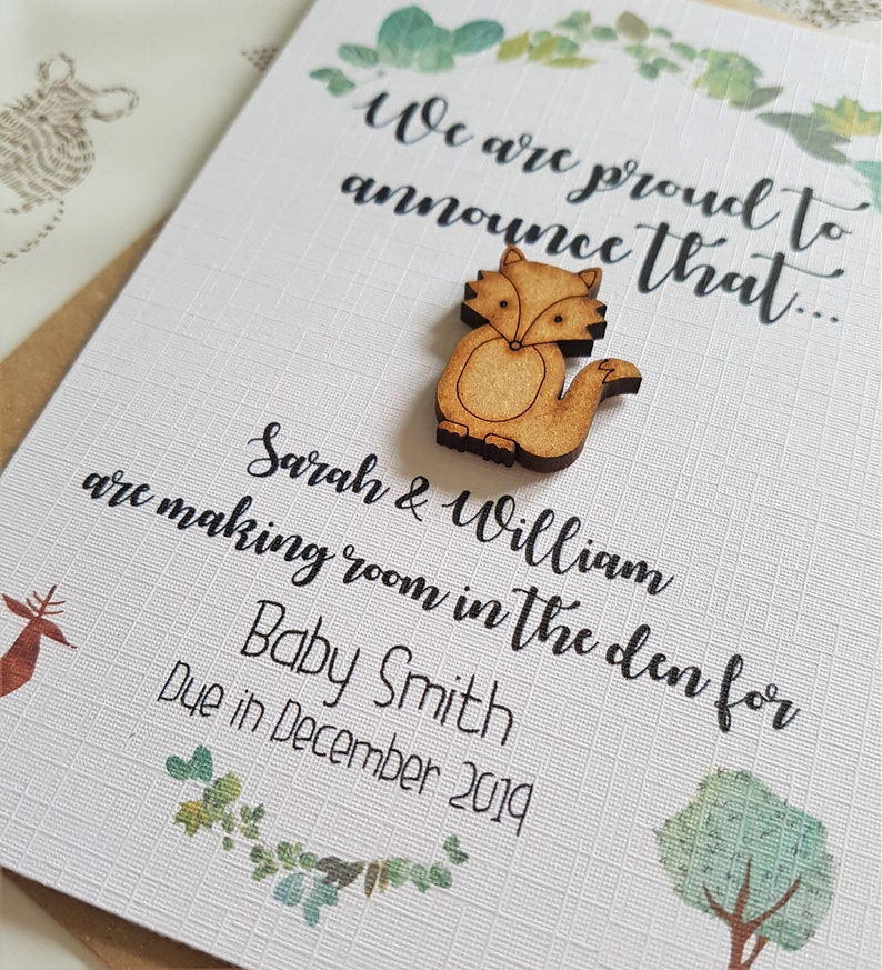 Pregnancy Reveal Card We/'re Expecting Card Rustic Baby Announcement Card Woodland Fox Pregnancy Announcement Postcard