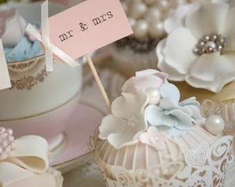 mr & mrs Cupcake Toppers - blush pink with ivory bows - set of 10