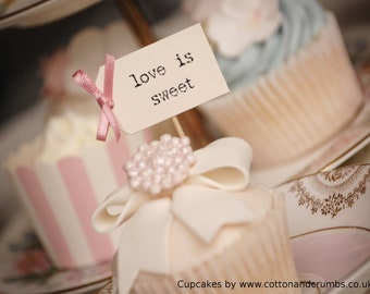 love is sweet Cupcake Toppers - ivory with dusky pink bows - set of 10