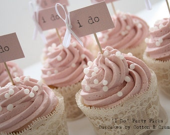 i do Wedding Cupcake Toppers - blush pink with ivory bows - set of 10