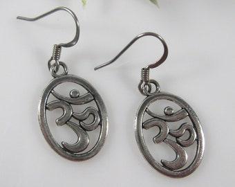 7dd958ef8 Silver yoga earrings, nickel free earrings, surgical steel, Ohm earrings,  silver om earrings, meditation jewelry, namaste earrings