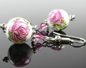 Silver earrings dangle, surgical stainless steel, nickel free, beaded earrings, round earrings, bridesmaids gift, pink flower earrings