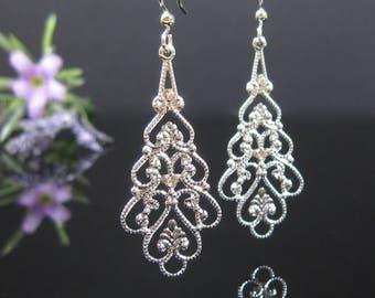 Silver filigree earrings, surgical stainless steel, long teardrop, nickel free earrings, bridal earrings, silver dangle, bridesmaids jewelry