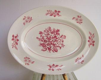 Vintage Serving Platter by Wade - Large Oval Plate - Hedgerow Pattern