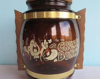 """Vintage Siesta Ware """"Crunch Bunch"""" Brown Glass Cookie Jar"""