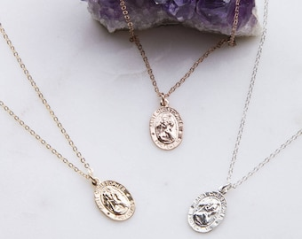 Tiny Saint Christopher Oval Necklace, Traveling Saint Necklace, Dainty Layering Necklace,  Small Silver, Gold or Rose Gold Charm Necklace