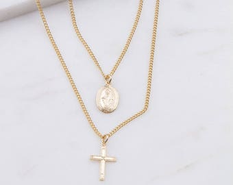 Virgin Mary Charm with Cross Necklace, Religious Jewelry, Gift for Her, Cross Necklace, Small Gold Charm Necklace, Miraculous Medal