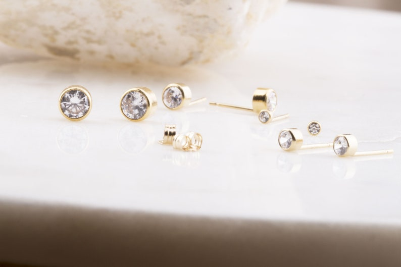 14K Gold Filled Cubic Zirconia Round Bezel Stud Earrings Small CZ Studs CZ Studs 2mm to 5mm CZ Studs Second Hole Piercings Gift for Her