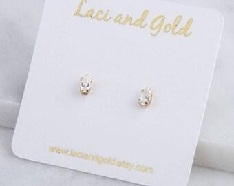 14K Gold Filled Cubic Zirconia Teardrop Stud Earrings, Tiny Teardrop Studs, CZ Studs, Gift for Her, Second Hole Piercings, Small CZ Studs