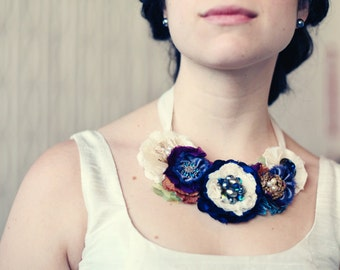 Bride Necklace - Bride Statement Necklace - Fabric Flower Necklaces - Wedding Necklace - Custom Made Jewelry - Textile Necklace - Bridal