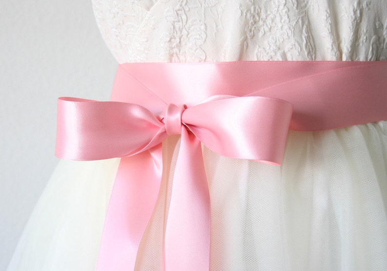 Peony Pink Ribbon Sash Bridal Belt Bridesmaid Dress Flower Girl Dress Sash Satin Ribbon Belt for Dress