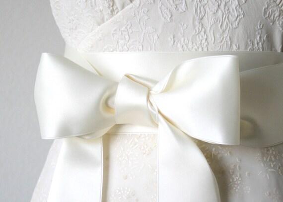 ba21170e871 Ivory White Wedding Sash Satin Ribbon Sash First Communion
