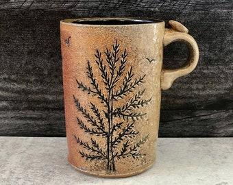 Pine Tree Mug, Tall Coffee Mug, Pottery Mug, Tree Art, Tree Hugger, Wood Soda Fired Mug, Nature Lover Gift, Wanderlust Mug.