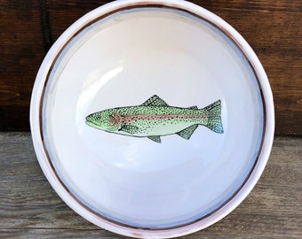 Fish Pottery Bowl, Rainbow Trout Art, Trout Bowl, Fishing Gifts, Fly Fishing Gift, Trout Pottery, Fishing Art, Earthenware Serving Bowl