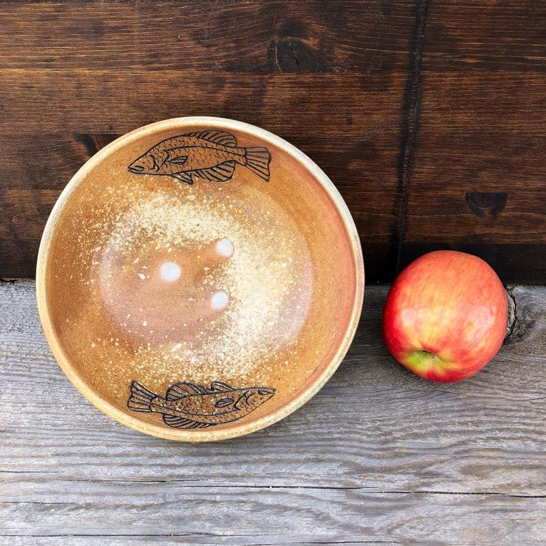 Wood Fired Ceramics Bass Art Buddha Bowl Fish Pottery Fish Artwork Fishing Home Decor Bass Fishing Gifts Handmade Pottery Bowl