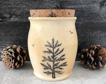 Pine Tree Pottery Jar, Coffee Jar with Cork, Kitchen Jar, Treat Jar, Wheel Thrown Jar, Forest Art, Wanderlust Ceramic Jar, Coffee Canister