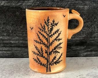 Pine Tree Mug, Nature Lover Gift, Pottery Mug, Tall Coffee Mug, Forest Art, Tree Pottery, Handmade Mug, Stoneware Mug, Woodsy Art.