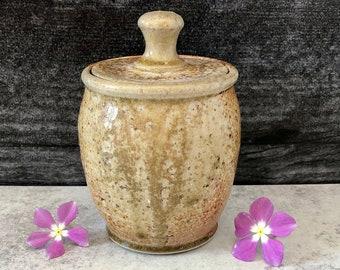 Pottery Jar with Lid, Stash Jar, Sugar Jar, Handmade Jar, Lidded Jar, Herb Jar, Loose Tea Jar, Spice Jar, Stoneware Jar, Wood Fired Jar.