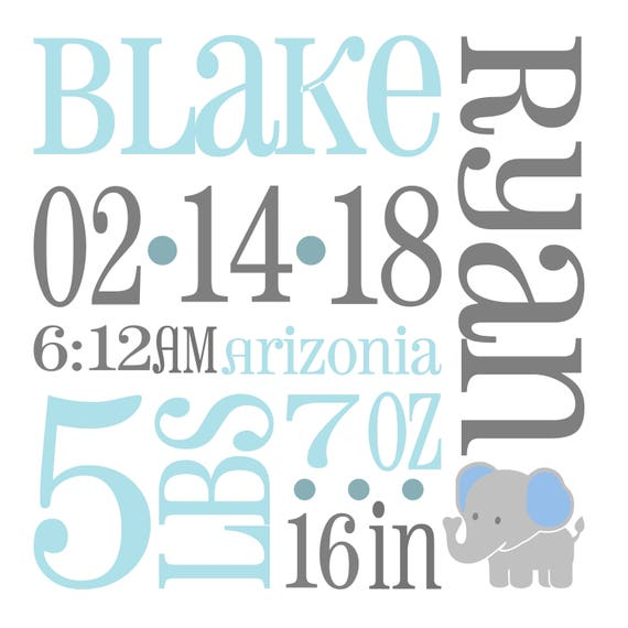 Elephant Baby Birth Announcement Svg Birth Stats Svg Baby